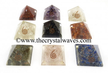 Mix Assorted Gemstone Chips Orgone Small Baby Pyramids
