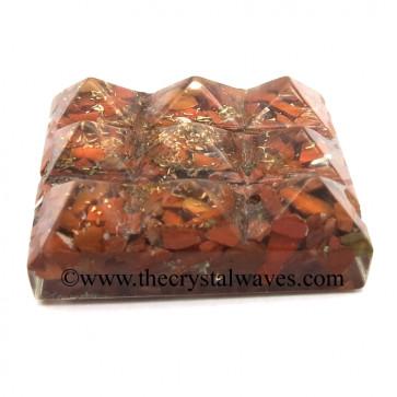 Red Jasper Chips Orgone Lemurian 9 Pyramid Power Plate