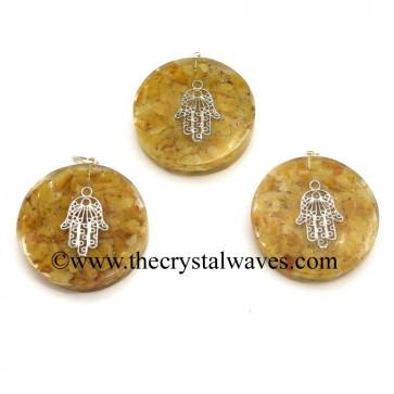 Yellow Aventurine Chips With Hamsa Symbol Round Orgone Disc Pendant
