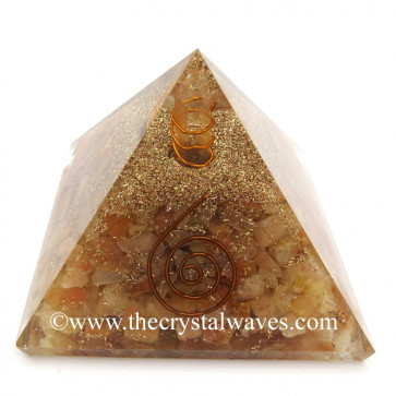 Yellow Aventurine Chips Orgone Pyramids With Copper Wrrapped Crystal Point