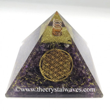 Amethyst Chips Orgone Pyramids With Flower Of Life & Copper Wrrapped Crystal Point