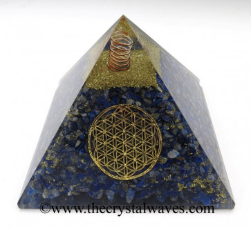 Lapis Lazuli Chips Orgone Pyramids With Flower Of Life & Copper Wrrapped Crystal Point