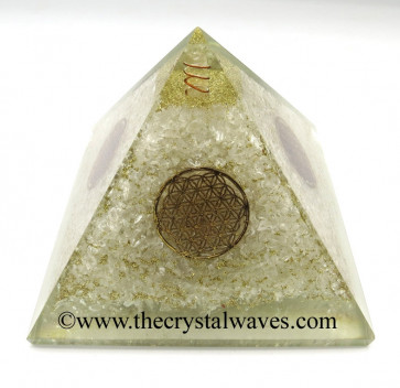 Crystal Quartz Chips Orgone Pyramids With Flower Of Life & Copper Wrrapped Crystal Point