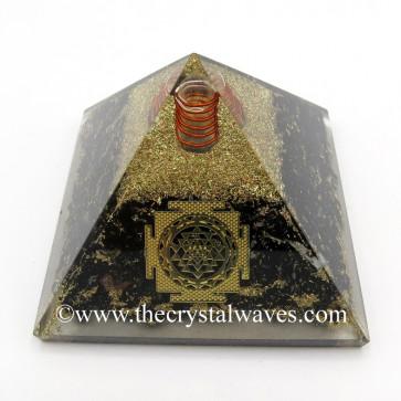 Black Tourmaline Chips Orgone Pyramid With Meru Shreeyantra Symbol