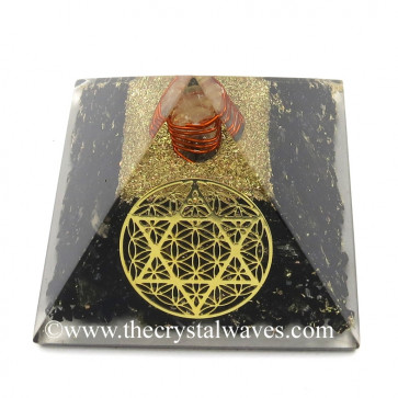 Black Tourmaline Chips Orgone Pyramid With Flower Of Life With Star Of David Symbol