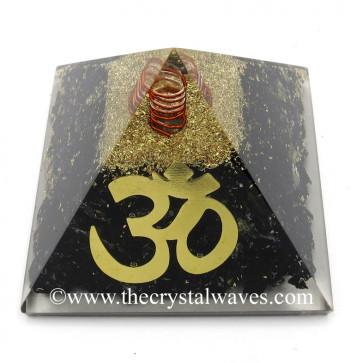 Black Tourmaline Chips Orgone Pyramid With Big Om  Symbol