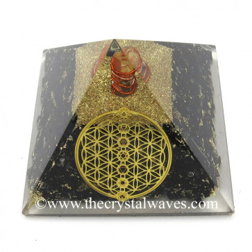 Shungite Chips Orgone Pyramid With Flower Of Life With Chakra Symbol