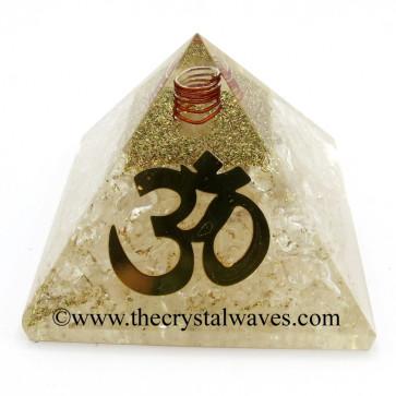 Crystal Quartz Chips Orgone Pyramid With Big Om  Symbol