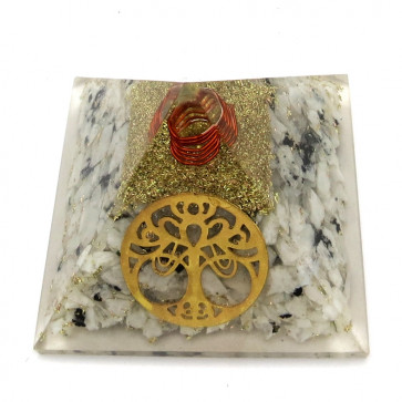 Rainbow Moonstone Chips Orgone Pyramid With New Tree Of Life Symbol