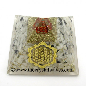Rainbow Moonstone Chips Orgone Pyramid With New Flower Of Life Symbol