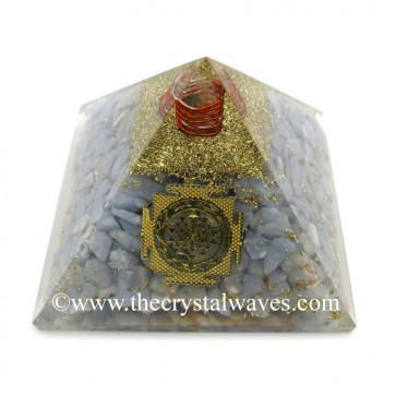 Angelite Chips Orgone Pyramid With Meru Shreeyantra Symbol