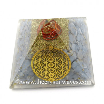 Angelite Chips Orgone Pyramid With Flower Of Life With Chakra Symbol