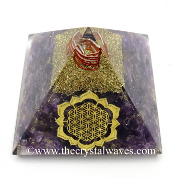 Amethyst Chips Orgone Pyramid With New Flower Of Life Symbol