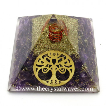 Amethyst Chips Orgone Pyramid With New Tree Of Life Symbol