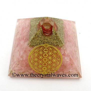 Rose Quartz Chips Orgone Pyramid With Flower Of Life With Chakra Symbol