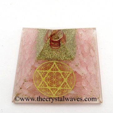 Rose Quartz Chips Orgone Pyramid With Flower Of Life With Star Of David Symbol