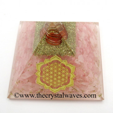 Rose Quartz Chips Orgone Pyramid With New Flower Of Life Symbol