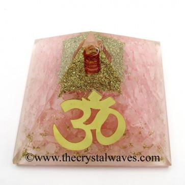 Rose Quartz Chips Orgone Pyramid With Big Om  Symbol