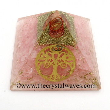 Rose Quartz Chips Orgone Pyramid With New Tree Of Life Symbol