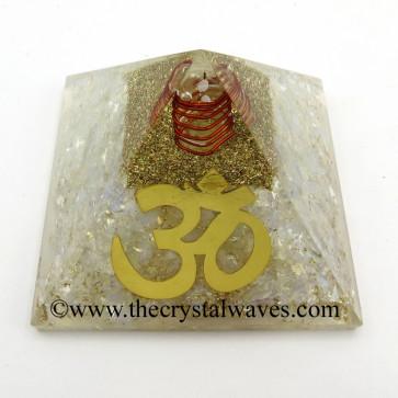 Opalite Chips Orgone Pyramid With Big Om  Symbol