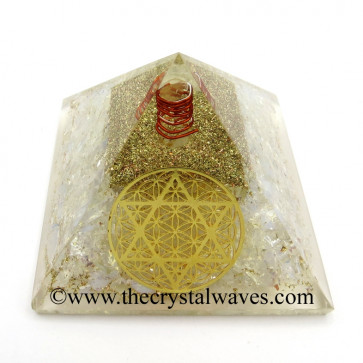 Opalite Chips Orgone Pyramid With Flower Of Life With Star Of David Symbol