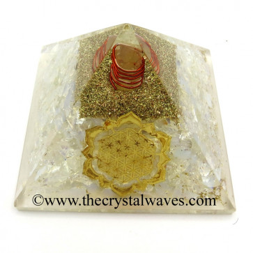 Opalite Chips Orgone Pyramid With New Flower Of Life Symbol