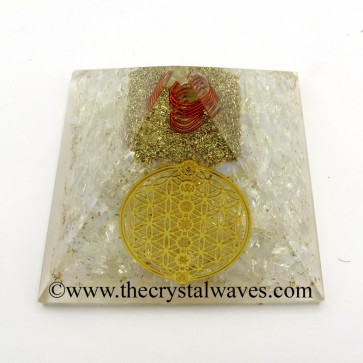 Opalite Chips Orgone Pyramid With Flower Of Life With Chakra Symbol