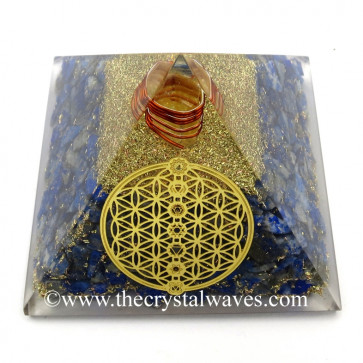 Lapis Lazuli Chips Orgone Pyramid With Flower Of Life With Chakra Symbol