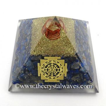 Lapis Lazuli Chips Orgone Pyramid With Meru Shreeyantra Symbol
