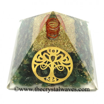 Green Aventurine Chips Orgone Pyramid With New Tree Of Life Symbol