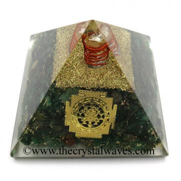 Green Aventurine Chips Orgone Pyramid With Meru Shreeyantra Symbol