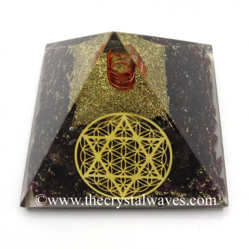 Garnet Chips Orgone Pyramid With Flower Of Life With Star Of David Symbol