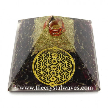 Garnet Chips Orgone Pyramid With Flower Of Life With Chakra Symbol