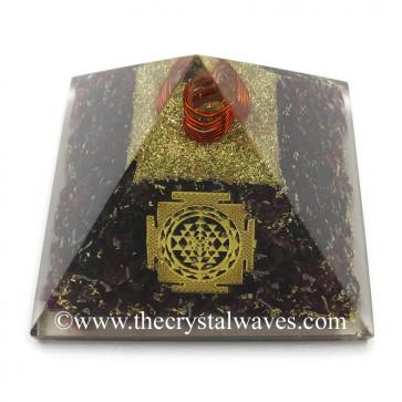 Garnet Chips Orgone Pyramid With Meru Shreeyantra Symbol