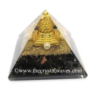 Black Tourmaline Chips Orgone Pyramid With Meru Shreeyantra