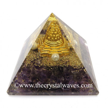 Amethyst Chips Orgone Pyramid With Meru Shreeyantra