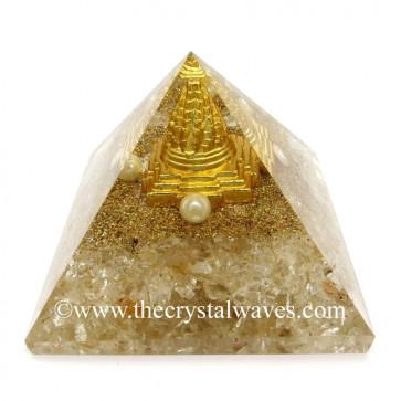 Crystal Quartz Chips Orgone Pyramid With Meru Shreeyantra