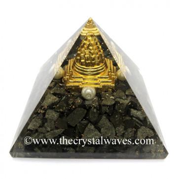 Pyrite Chips Orgone Pyramid With Meru Shreeyantra