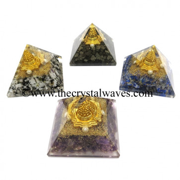 Mix Assorted Gemstone Chips Chips Orgone Pyramid With Meru Shreeyantra
