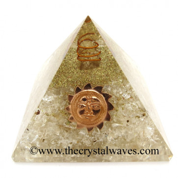 Crystal Quartz Chips Orgone Pyramid With Sun Symbol