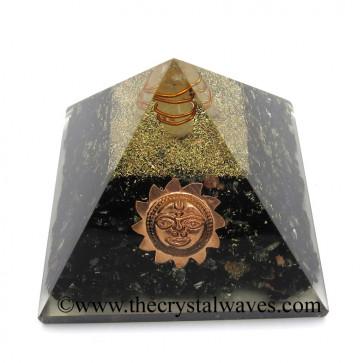 Black Tourmaline Chips Orgone Pyramid With Sun Symbol