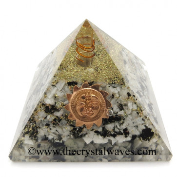 Rainbow Moonstone Chips Orgone Pyramid With Sun Symbol