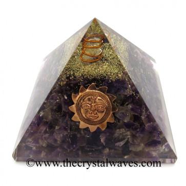 Amethyst Chips Orgone Pyramid With Sun Symbol