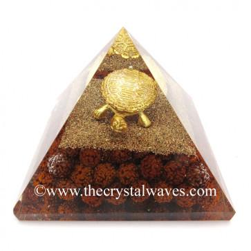 Rudraksha Beads Orgone Pyramid With Fengshui / Vastu Tortoise