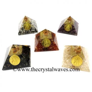 Mix Assorted Gemstone Chips Orgone Pyramid With Shree Maha Mrityunjaya Kavach / Protection Yantra