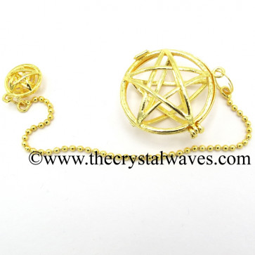 Star / Pentagram Round Cab Cage Golden Pendulum