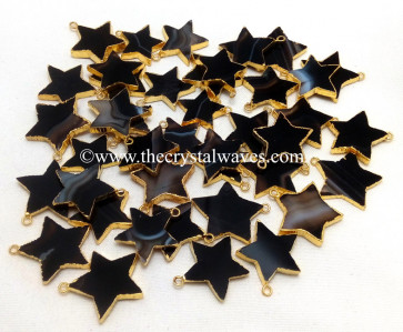 Black Banded Agate Chalcedony Gold Electroplated Star Pendant