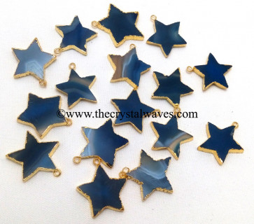 Blue Banded Agate Chalcedony Gold Electroplated Star Pendant