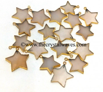 Pink Chalcedony / Onyx Gold Electroplated Star Pendant