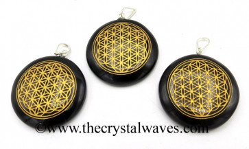 Black Agate Flower Of Life Fine Engraved Round Cabochon Pendant